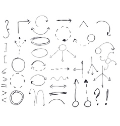 Isolated hand drawn arrows set on white vector