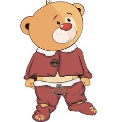 A stuffed toy bear cub in pajamas cartoon vector