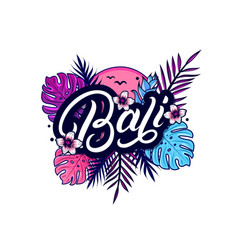 Bali hand written lettering with palm vector