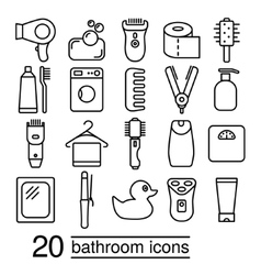 Bathroom icons collection vector