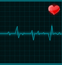Blue electrocardiogram with red heart symbol vector