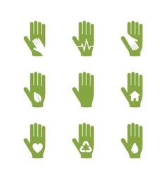 Caring hand logos set vector image