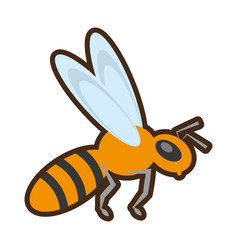 Cartoon bee insect flower pollen vector