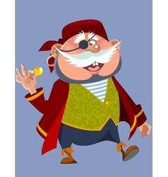 cartoon cheerful chubby man in a pirate costume vector image vector image
