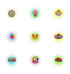 Children rides icons set pop-art style vector