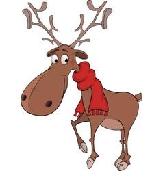 Christmas deer cartoon vector image