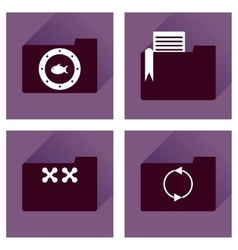 Concept of flat icons with long shadow folder vector image vector image