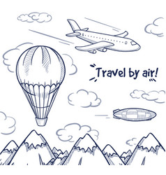 doodle air trip concept vector image vector image
