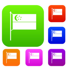 Flag of singapore set collection vector