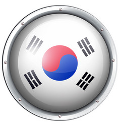 Flag of south korea in round frame vector