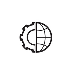 Global integration icon flat design vector