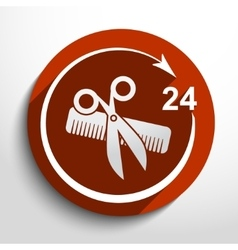 Hair salon tools 24 hours service vector