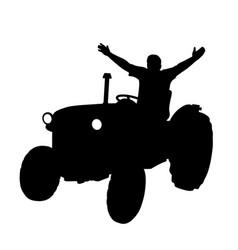 happy farmer on tractor with raised hands vector image vector image