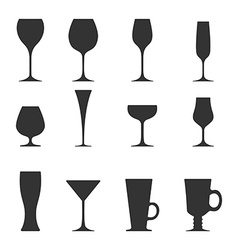icon set of utensil Wine beer martini whiskey vector image