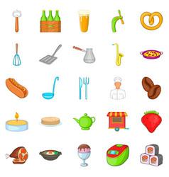 Italian food icons set cartoon style vector