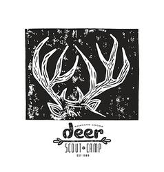 Linocut with a image of deer horns vector