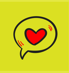 Love message and heart on a yellow background vector