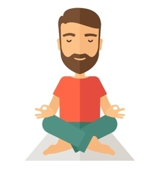 Man doing yoga vector