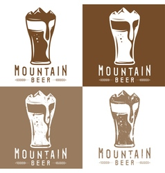 Mountain beer vintage labels set vector