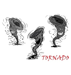 Nasty cartoon tornado hurricane and thunderstorm vector