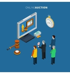 Online Auction Isometric vector image vector image