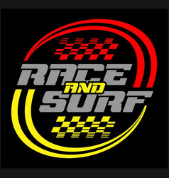 race and surf logo for t-shirt vector image