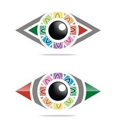 Rainbow eye circle eyeball symbol vector