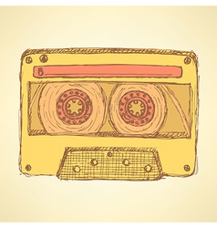 Sketch record cassette vector