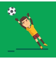 Soccer goalkeeper catching a ball vector image