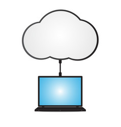 Technology digital cyber security laptop cloud vector