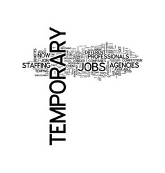 Temporary jobs text background word cloud concept vector