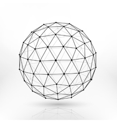 Wireframe polygonal sphere network lines vector image