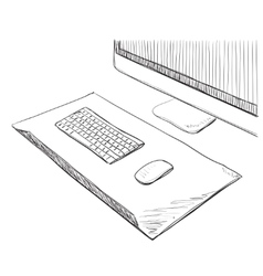 Hand drawn computer screen and keyboard vector
