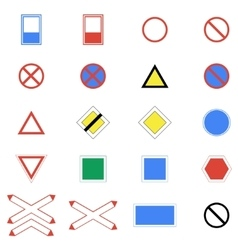Icons set of road signs and signs on a white vector