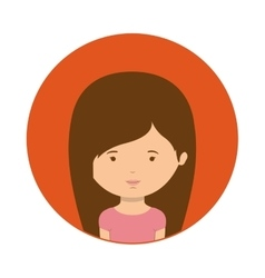 red sphere of half body woman with straight hair vector image