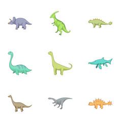 Herbivorous dinosaurs icons set cartoon style vector