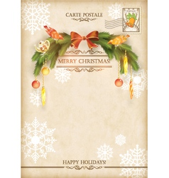 Christmas Vintage Holiday Postcard vector image