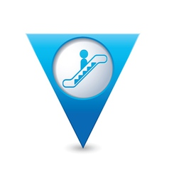 Escalator icon map pointer blue vector