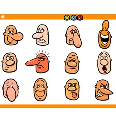 Cartoon people emoticons heads set vector