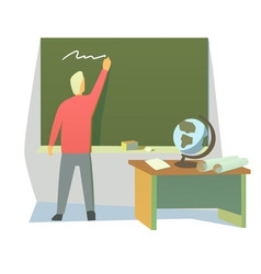 Teacher in a classroom vector