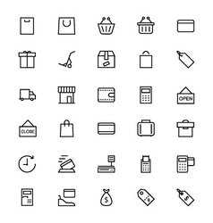 Shopping and commerce line icons 1 vector