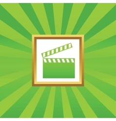Clapperboard picture icon vector