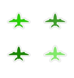 Assembly realistic sticker design on paper planes vector