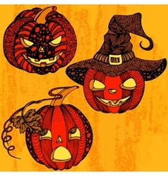 Halloween set pumpkin vector
