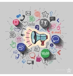 Speaker and collage with web icons background vector