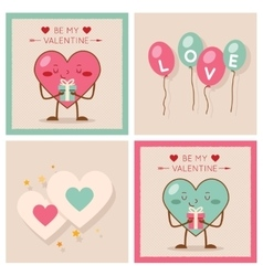 Valentines day heart gift boy girl icons modern vector