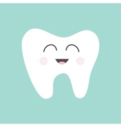 Tooth icon cute funny cartoon smiling character vector
