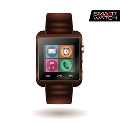 Modern shiny smart watch with leather bracelet app vector