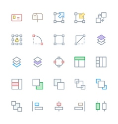 User interface colored line icons 21 vector