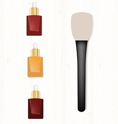 Set of realistic bottles of serum and brush for vector
